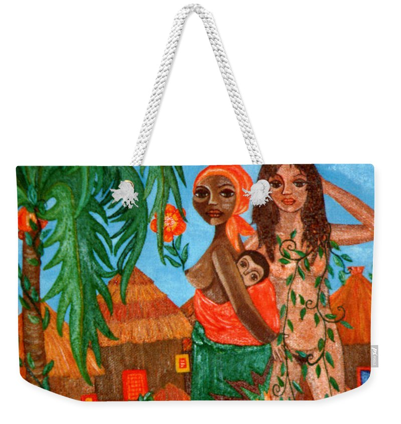 Mother Weekender Tote Bag featuring the painting Mother Black Mother White by Madalena Lobao-Tello