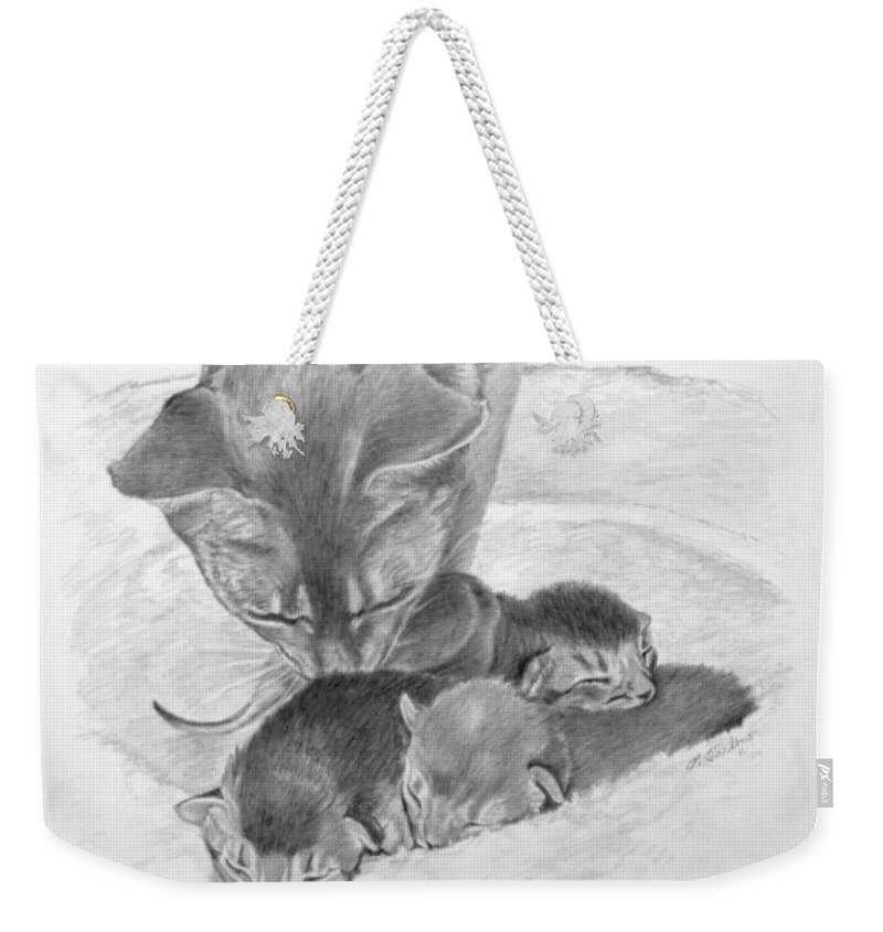 Drawing Weekender Tote Bag featuring the drawing Mother Cat Washing Kittens by Phyllis Tarlow