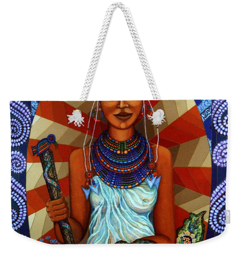 Mother Earth Weekender Tote Bag featuring the painting Mother Earth by Madalena Lobao-Tello