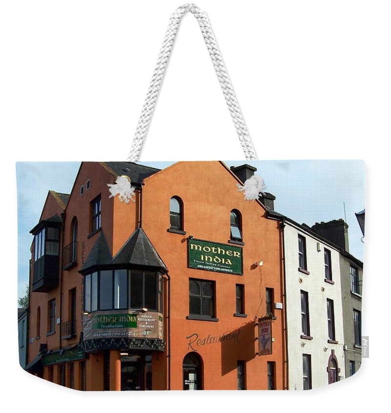 Ireland Weekender Tote Bag featuring the photograph Mother India Restaurant Athlone Ireland by Teresa Mucha