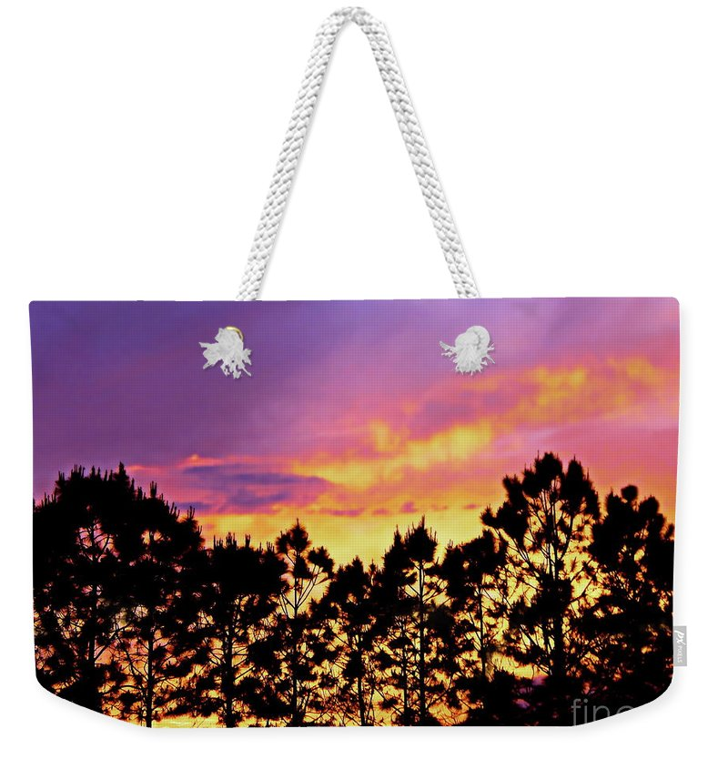 Stellar Sky Weekender Tote Bag featuring the photograph Mother Of Pearl Behind Tree Lace by Expressionistart studio Priscilla Batzell