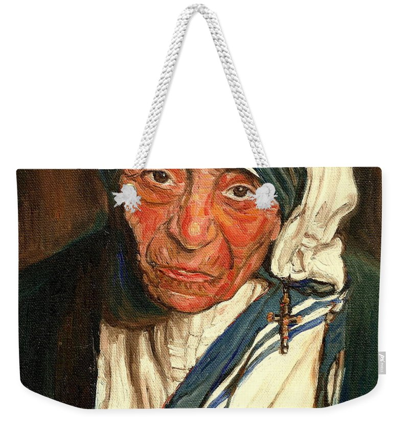 Mother Teresa Weekender Tote Bag featuring the painting Mother Teresa by Carole Spandau