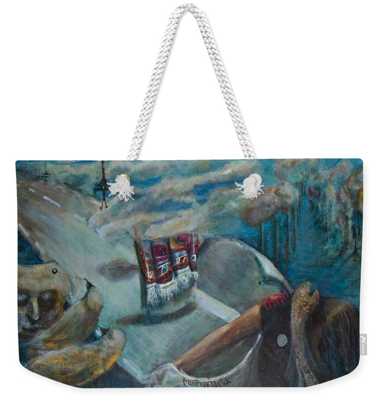 Motherland Weekender Tote Bag featuring the painting Motherland by Hengameh Abedin