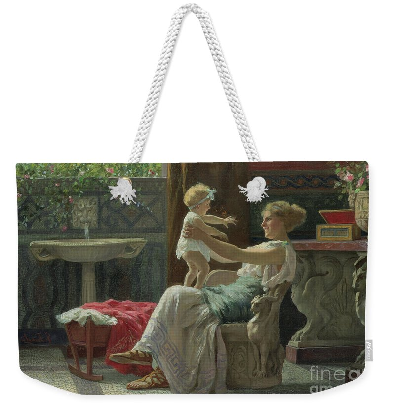 Baby; Roman; Fountain; Interior; Classicising; Classical; Antique; Scene; Mother; Child; Cradle; Maternal; Maternity; Love; Family; Smile; Laughing; Playing; Ribbon Weekender Tote Bag featuring the painting Mother's Darling by Zocchi Guglielmo