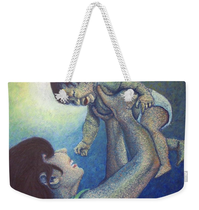 Mother Weekender Tote Bag featuring the painting Mother's Play by Minaz Jantz