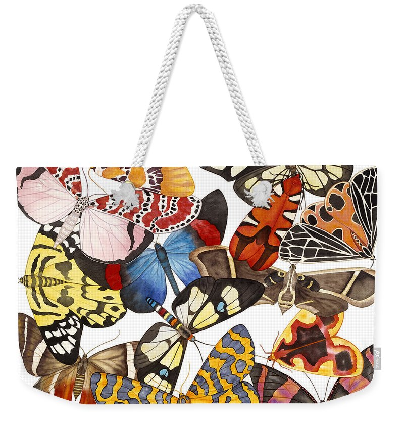 Moths Weekender Tote Bag featuring the painting Moths and More Moths by Lucy Arnold