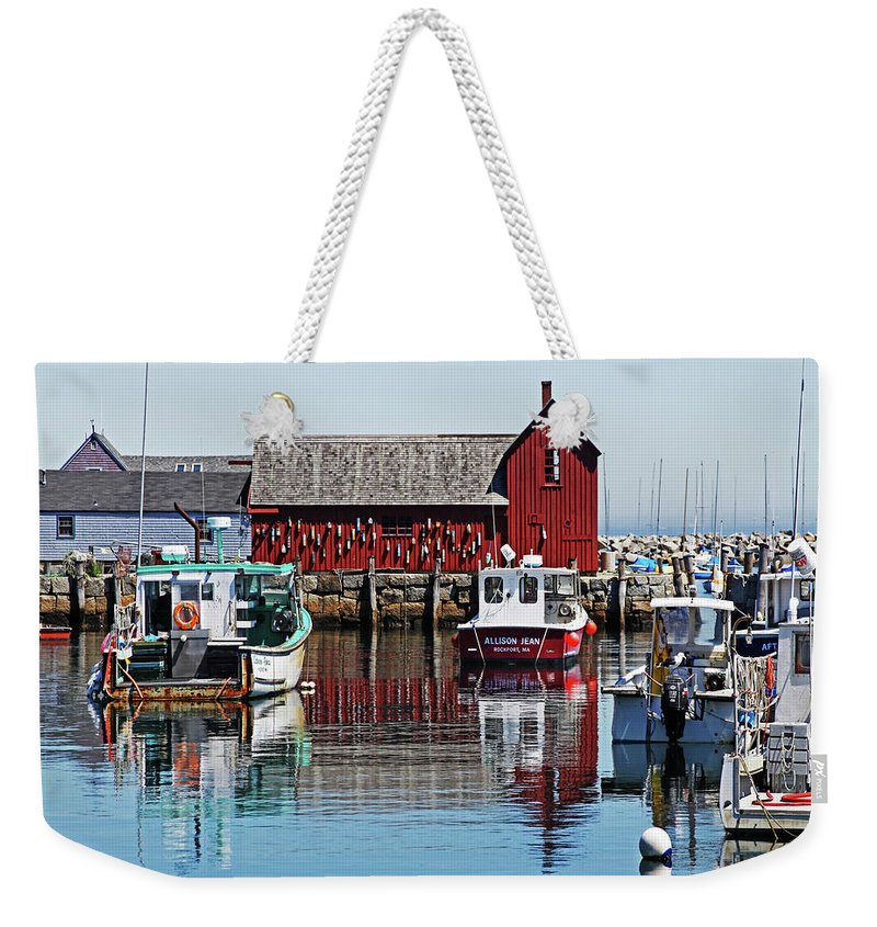 Boats Weekender Tote Bag featuring the photograph Motif #1, Rockport Ma, 1 by James Hoolsema