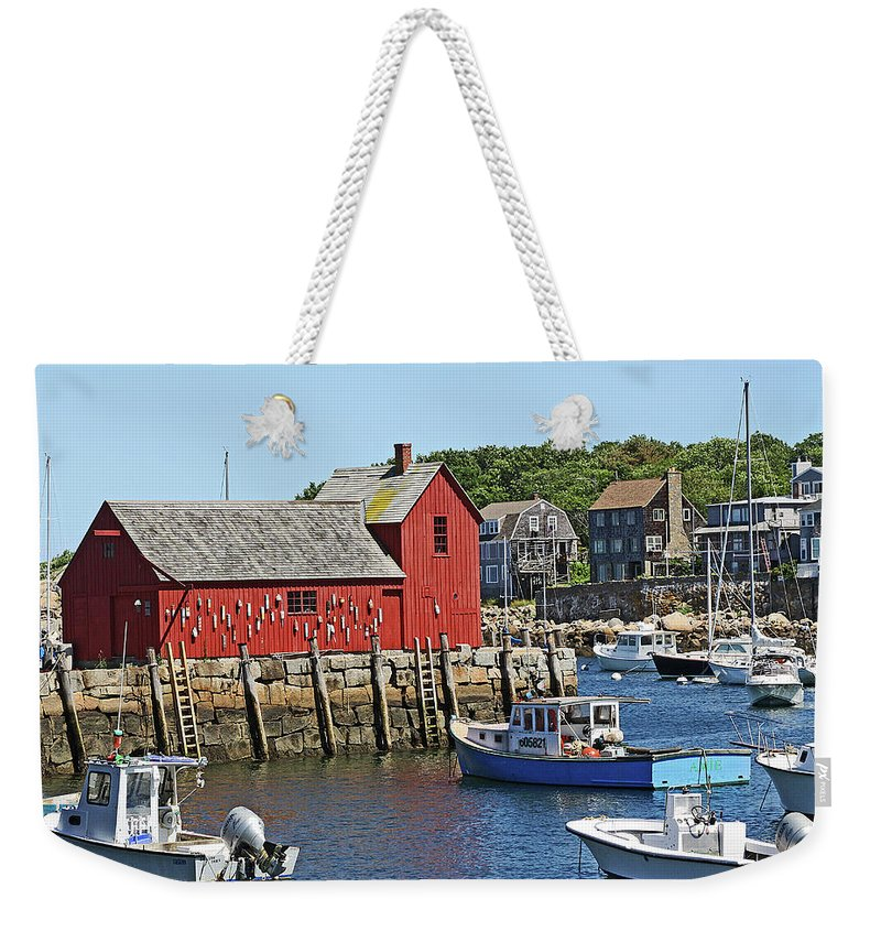 Boats Weekender Tote Bag featuring the photograph Motif #1, Rockport Ma, 2 by James Hoolsema