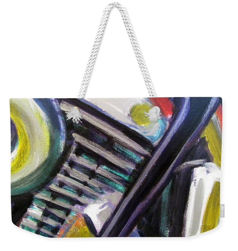 Motorcycle Weekender Tote Bag featuring the painting Motorcycle Abstract Engine 1 by Anita Burgermeister