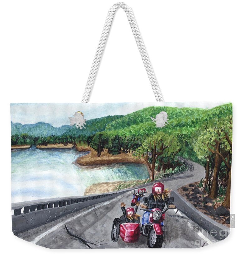 Summer Weekender Tote Bag featuring the painting Motorcycle Ride by Cecille Gagne