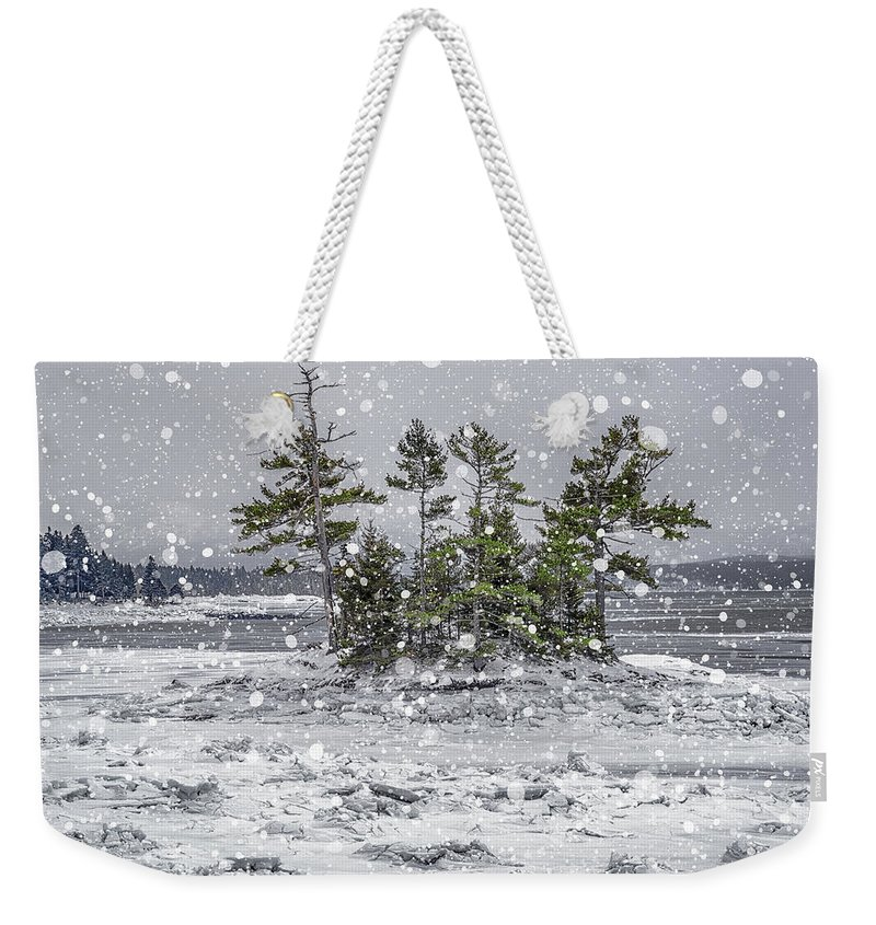 Snow Weekender Tote Bag featuring the photograph Mount Desert Narrows Snowscape by Marty Saccone