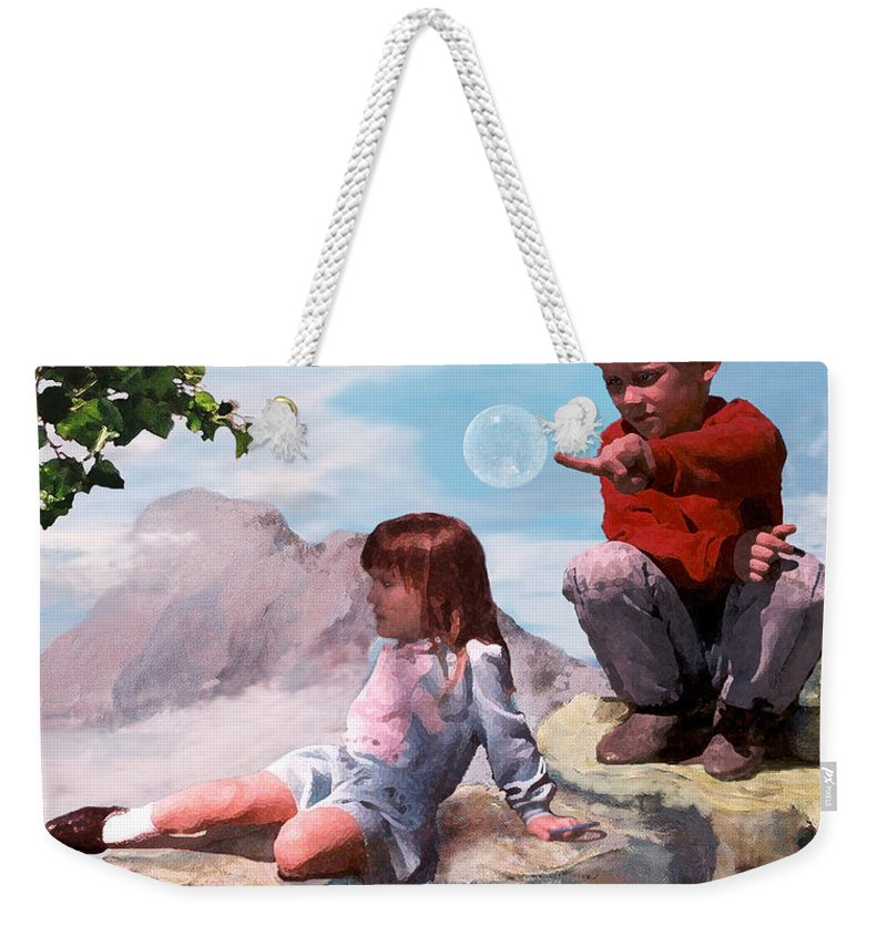 Landscape Weekender Tote Bag featuring the painting Mount Innocence by Steve Karol