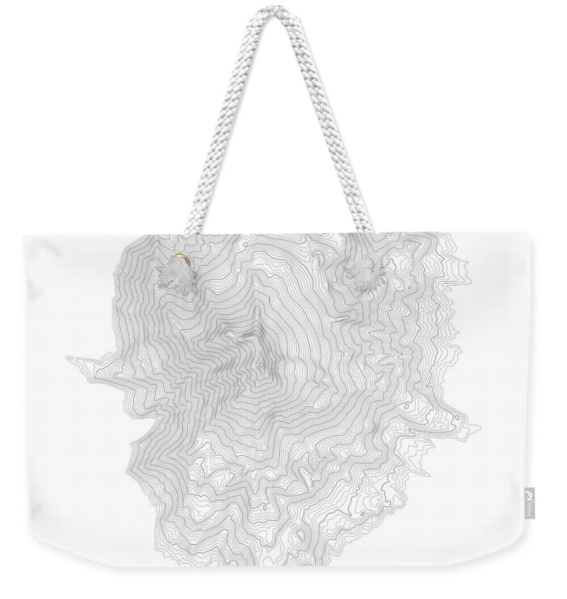 Topo Weekender Tote Bag featuring the digital art Mount Jefferson Contour In Black by Jurq Studio