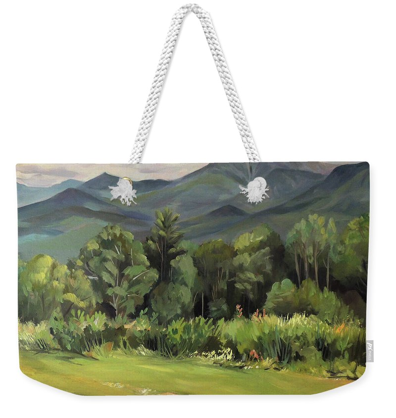 White Mountain Paintngs Weekender Tote Bag featuring the painting Mount Lafayette From Sugar Hill New Hampshire by Nancy Griswold