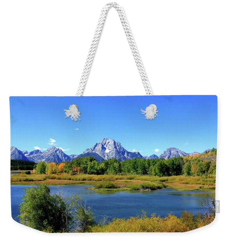Grand Tetons Weekender Tote Bag featuring the photograph Mount Moran, Grand Tetons National Park, Wyoming by Aidan Moran
