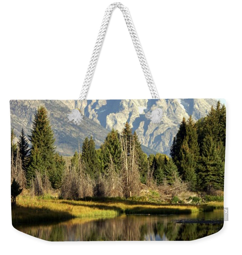 Grand Teton National Park Weekender Tote Bag featuring the photograph Mount Moran Reflections by Marty Koch