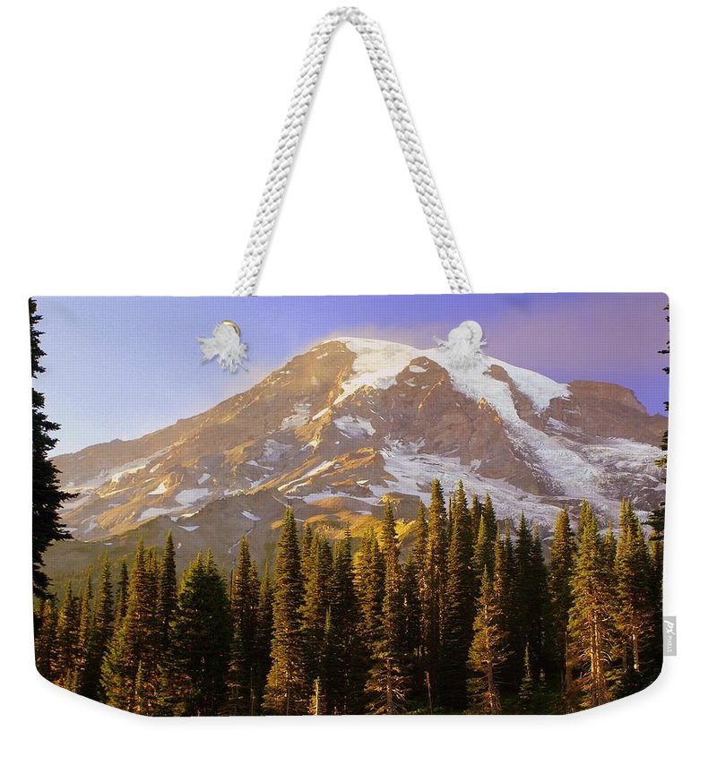 Mt. Raineer Weekender Tote Bag featuring the photograph Mount Raineer 2 by Marty Koch