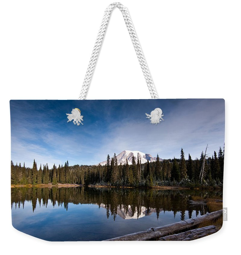 Mount Rainier Weekender Tote Bag featuring the photograph Mount Rainier Reflection by Mike Reid