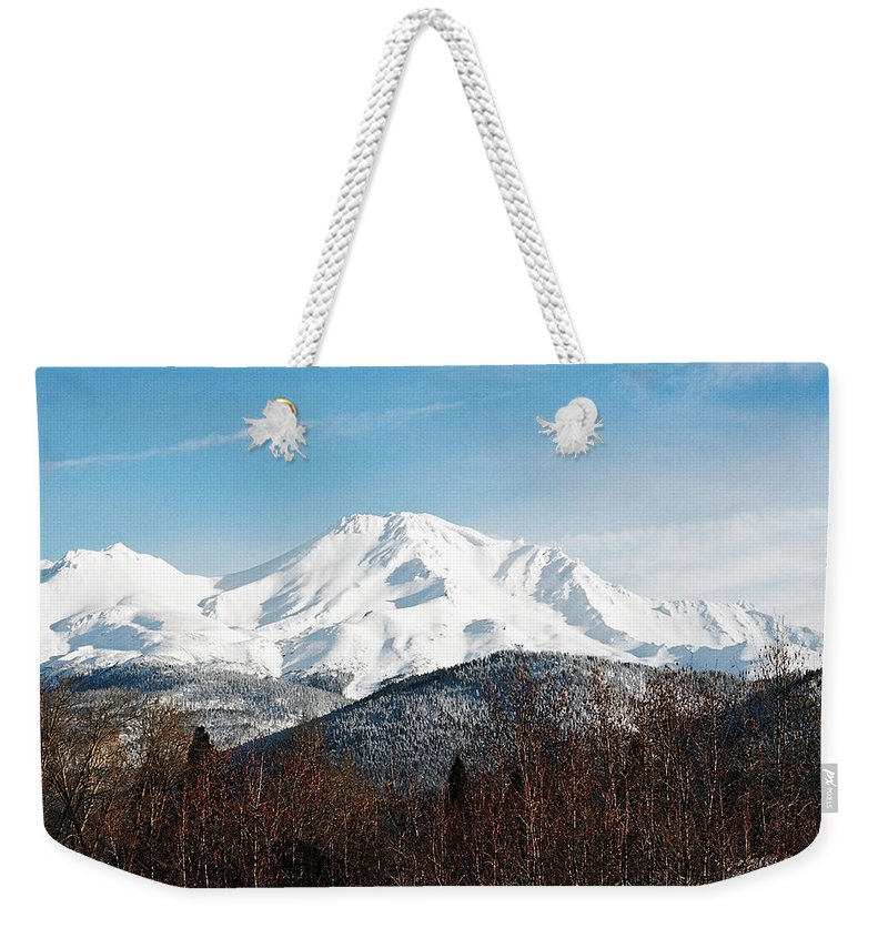 Mount Shasta Weekender Tote Bag featuring the photograph Mount Shasta by Anthony Jones