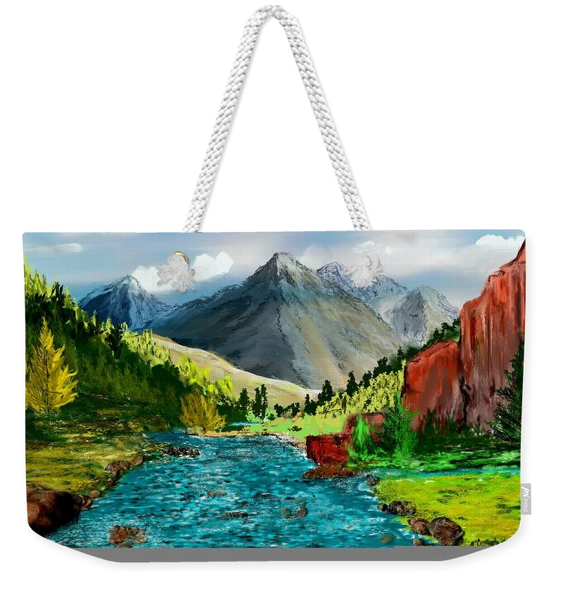 Digital Photograph Weekender Tote Bag featuring the digital art Mountaian Scene by David Lane