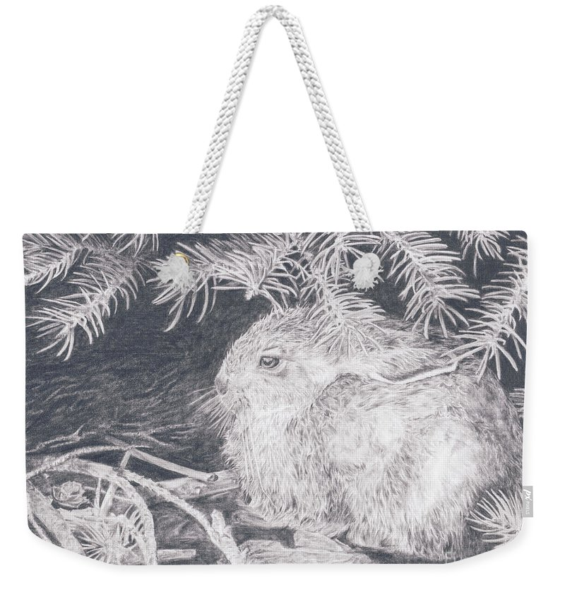 Rabbit Weekender Tote Bag featuring the drawing Mountain Cottontail by Shevin Childers