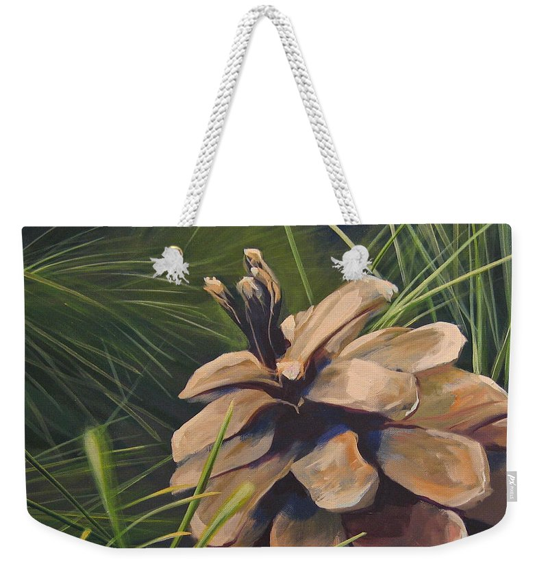 Pinecone Closeup Weekender Tote Bag featuring the painting Mountain Echoes by Hunter Jay