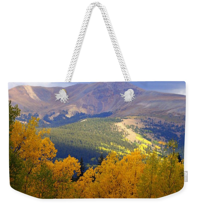 Colorado Weekender Tote Bag featuring the photograph Mountain Fall by Marty Koch