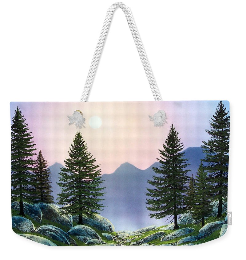 Landscape Weekender Tote Bag featuring the painting Mountain Firs by Frank Wilson
