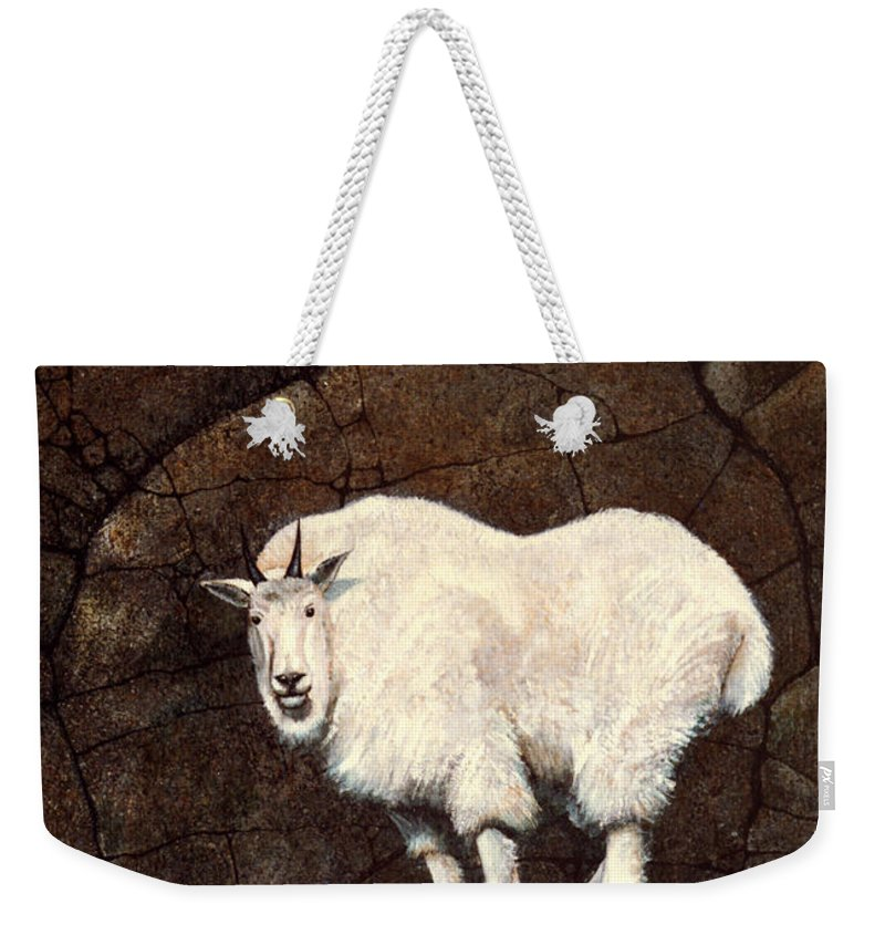 Wildlife Weekender Tote Bag featuring the painting Mountain Goat by Frank Wilson