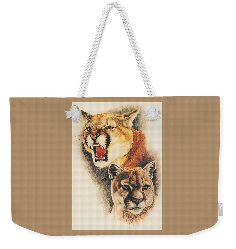 Cougar Weekender Tote Bag featuring the drawing Mountain King by Barbara Keith