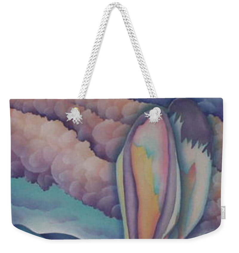 Rabbit Weekender Tote Bag featuring the painting Mountain King by Jeniffer Stapher-Thomas