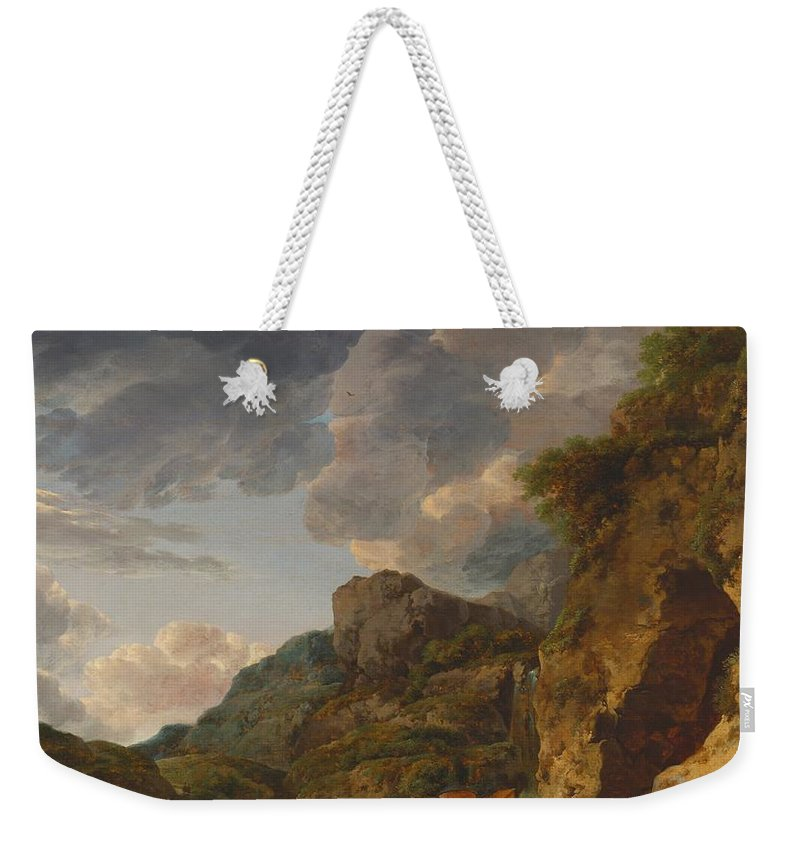 Painting Weekender Tote Bag featuring the painting Mountain Landscape With River And Wagon by Mountain Dreams