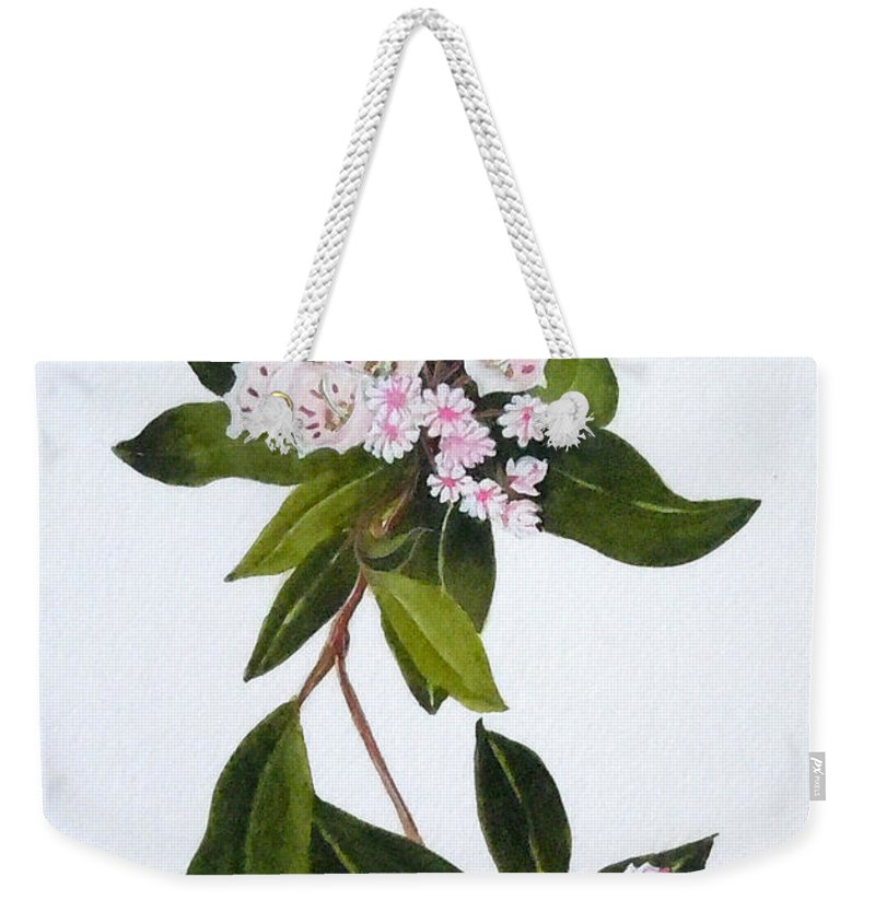 Mountain Laurel Weekender Tote Bag featuring the painting Mountain Laurel by Jean Blackmer
