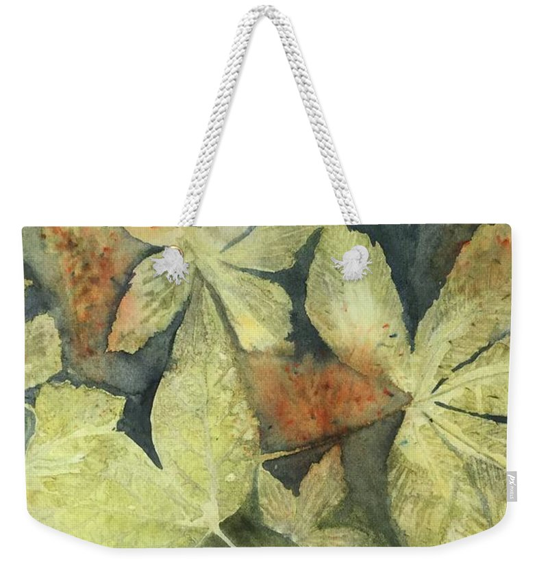 Leaves Weekender Tote Bag featuring the painting Mountain Leaves by Jean Blackmer