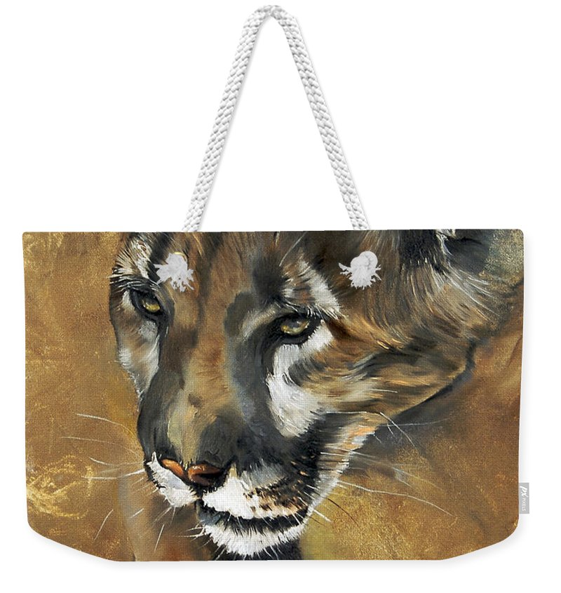Southwest Art Weekender Tote Bag featuring the painting Mountain Lion - Guardian Of The North by J W Baker