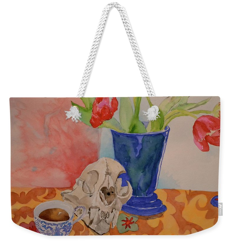 Still Life Weekender Tote Bag featuring the painting Mountain Lion Skull Tea And Tulips by Beverley Harper Tinsley