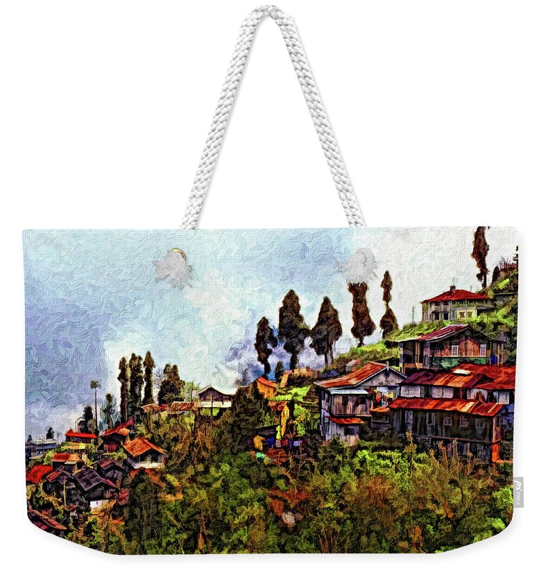 Darjeeling Weekender Tote Bag featuring the photograph Mountain Living Impasto by Steve Harrington