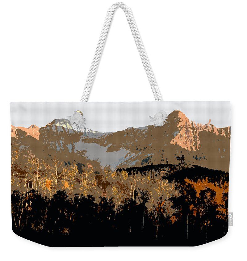 Mountains Weekender Tote Bag featuring the painting Mountain Majesty by David Lee Thompson