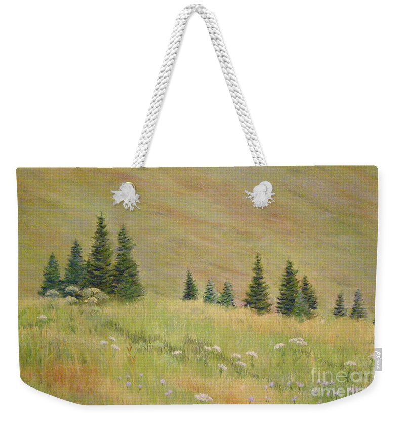 Landscape Weekender Tote Bag featuring the painting Mountain Meadow by Lynn Quinn