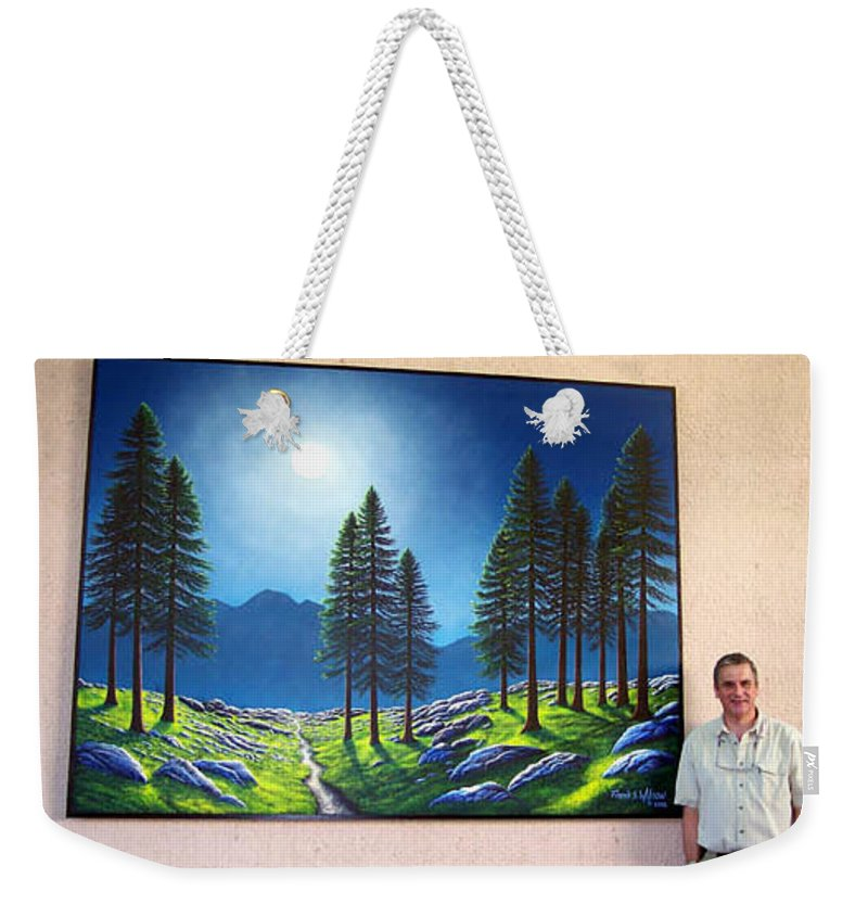 Mural Weekender Tote Bag featuring the painting Mountain Moonglow Mural winner of the 2005 COBA Peoples Choice Award by Frank Wilson