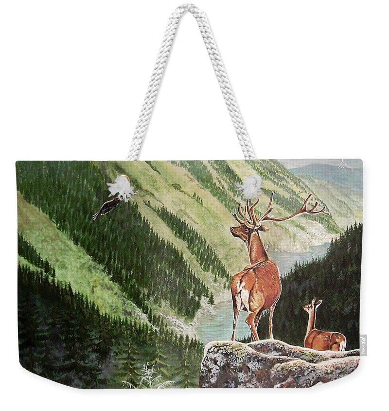 Deer Weekender Tote Bag featuring the painting Mountain Morning by Arie Van der Wijst