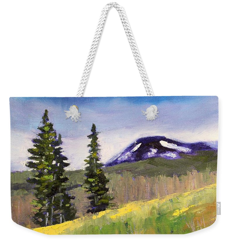 Mountain Weekender Tote Bag featuring the painting Mountain by Nancy Merkle