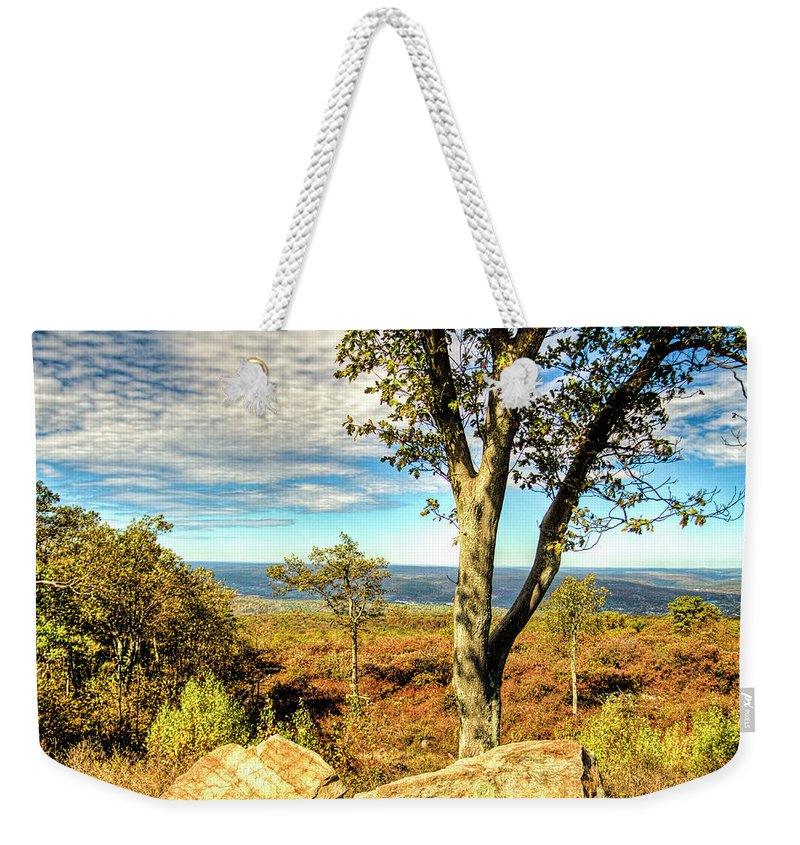 Recent Weekender Tote Bag featuring the photograph Mountain Overlook At High Point New Jersey by Geraldine Scull