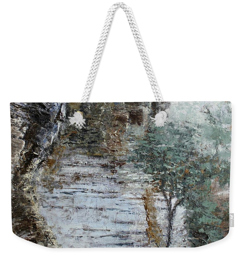 Landscape Weekender Tote Bag featuring the painting Mountain Pass by Todd Blanchard