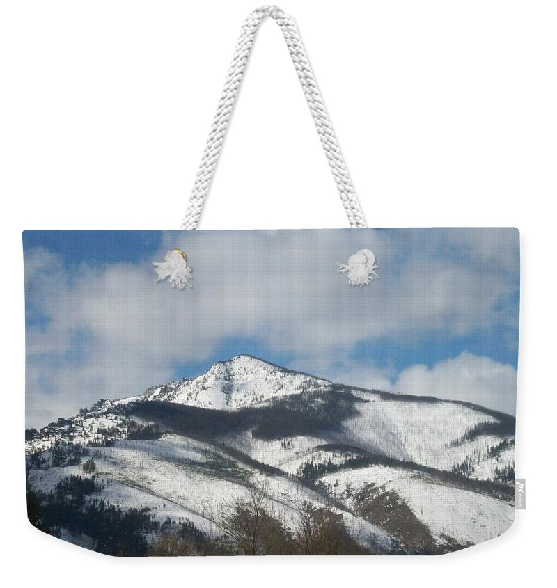 Blue Weekender Tote Bag featuring the photograph Mountain Peak by Jewel Hengen