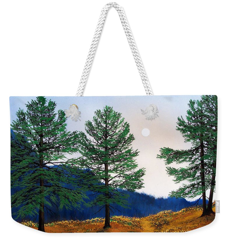 Weekender Tote Bag featuring the painting Mountain Pines by Frank Wilson