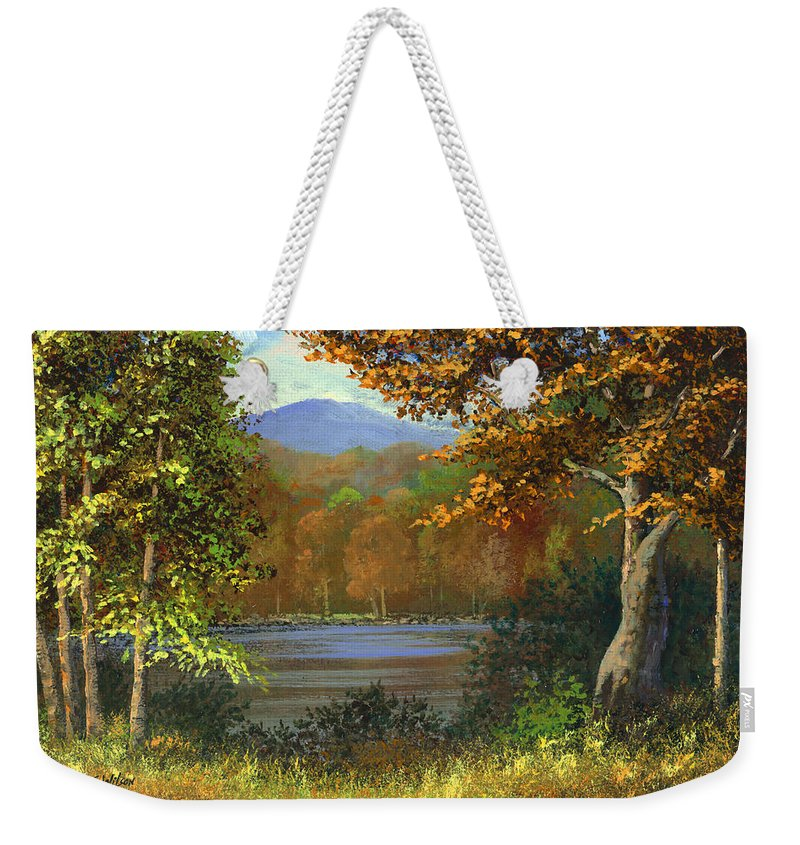 Landscape Weekender Tote Bag featuring the painting Mountain Pond by Frank Wilson