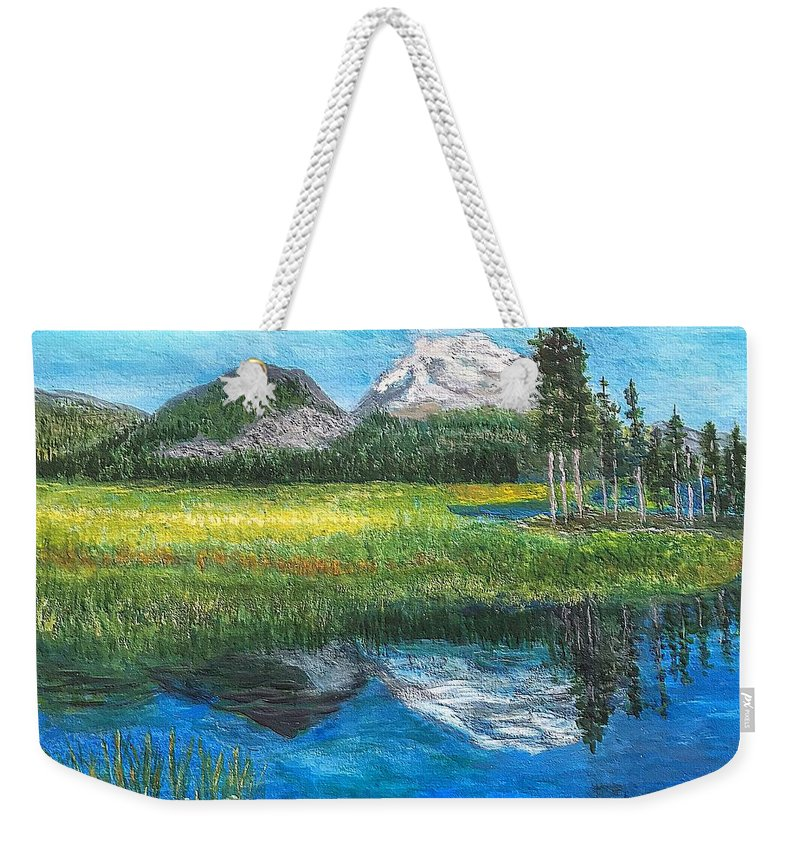 Mountain Weekender Tote Bag featuring the painting Mountain Reflections by Anne Sands