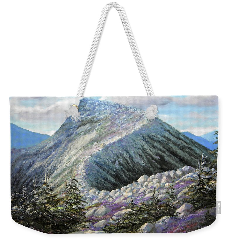 Landscape Weekender Tote Bag featuring the painting Mountain Ridge by Frank Wilson
