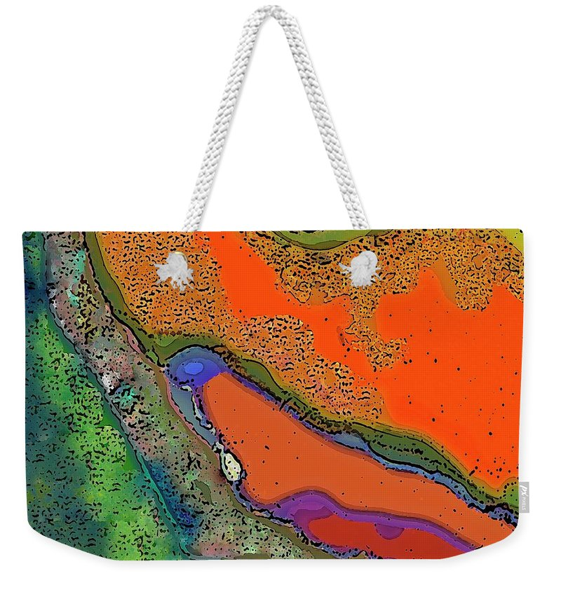Abstract Mountain Landscape Canvas Print Weekender Tote Bag featuring the digital art Mountain Series 9 by Betty Pehme